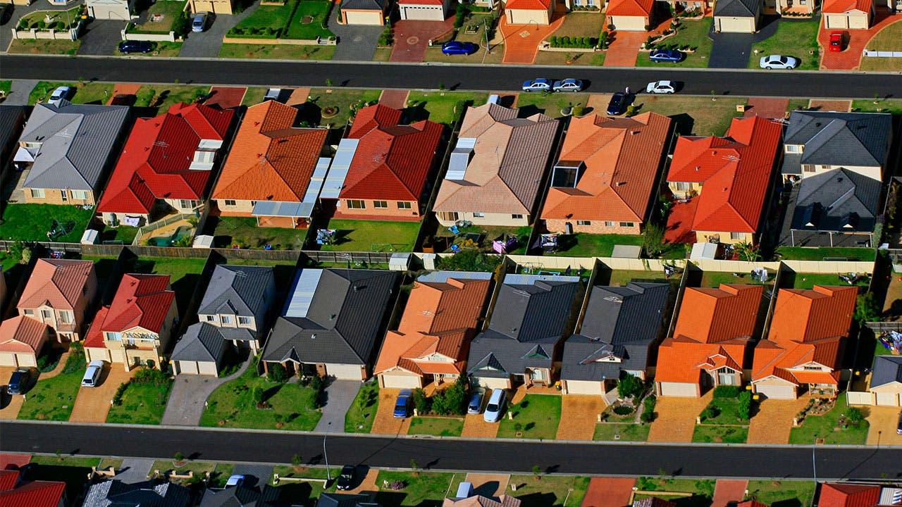 Houses in neighborhood aerial view