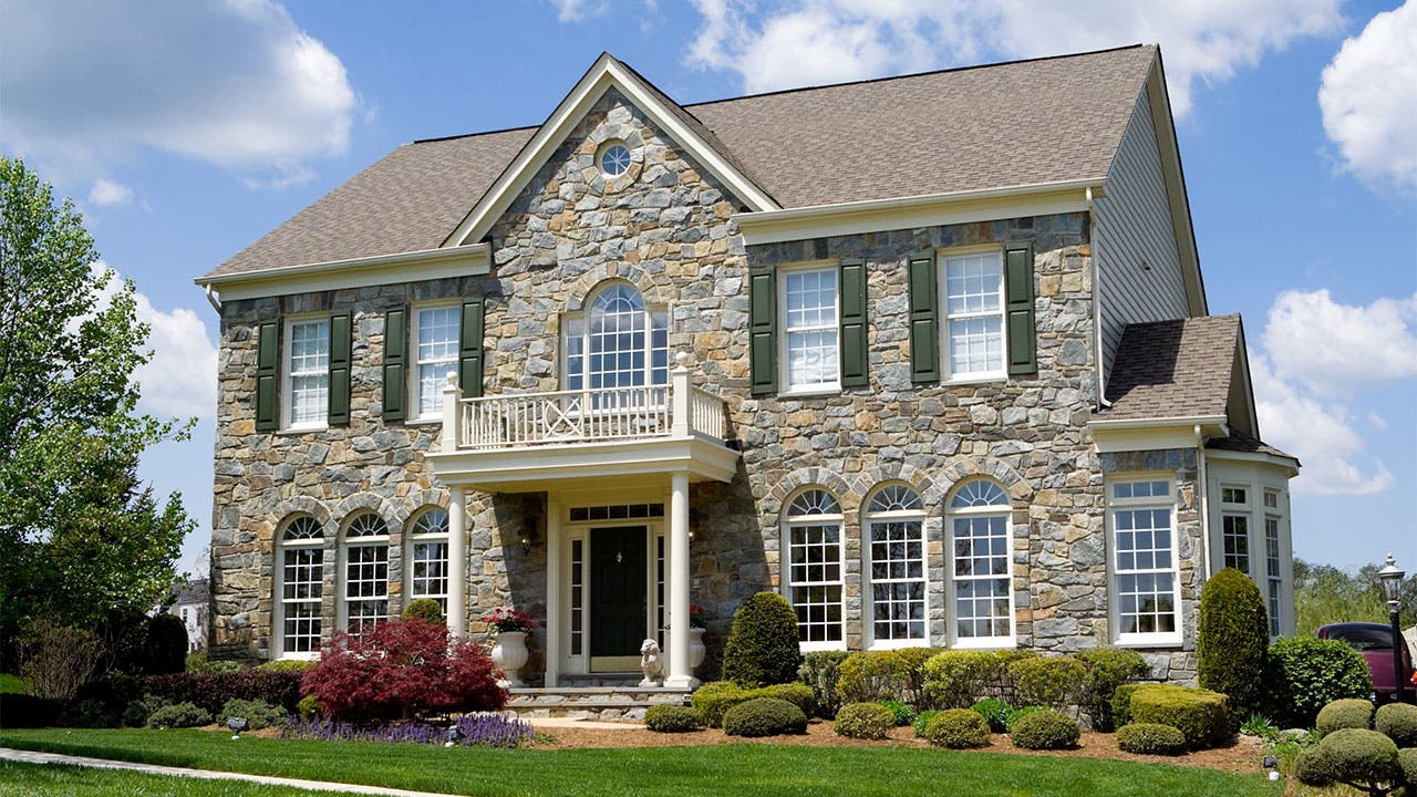 Large stone mansion