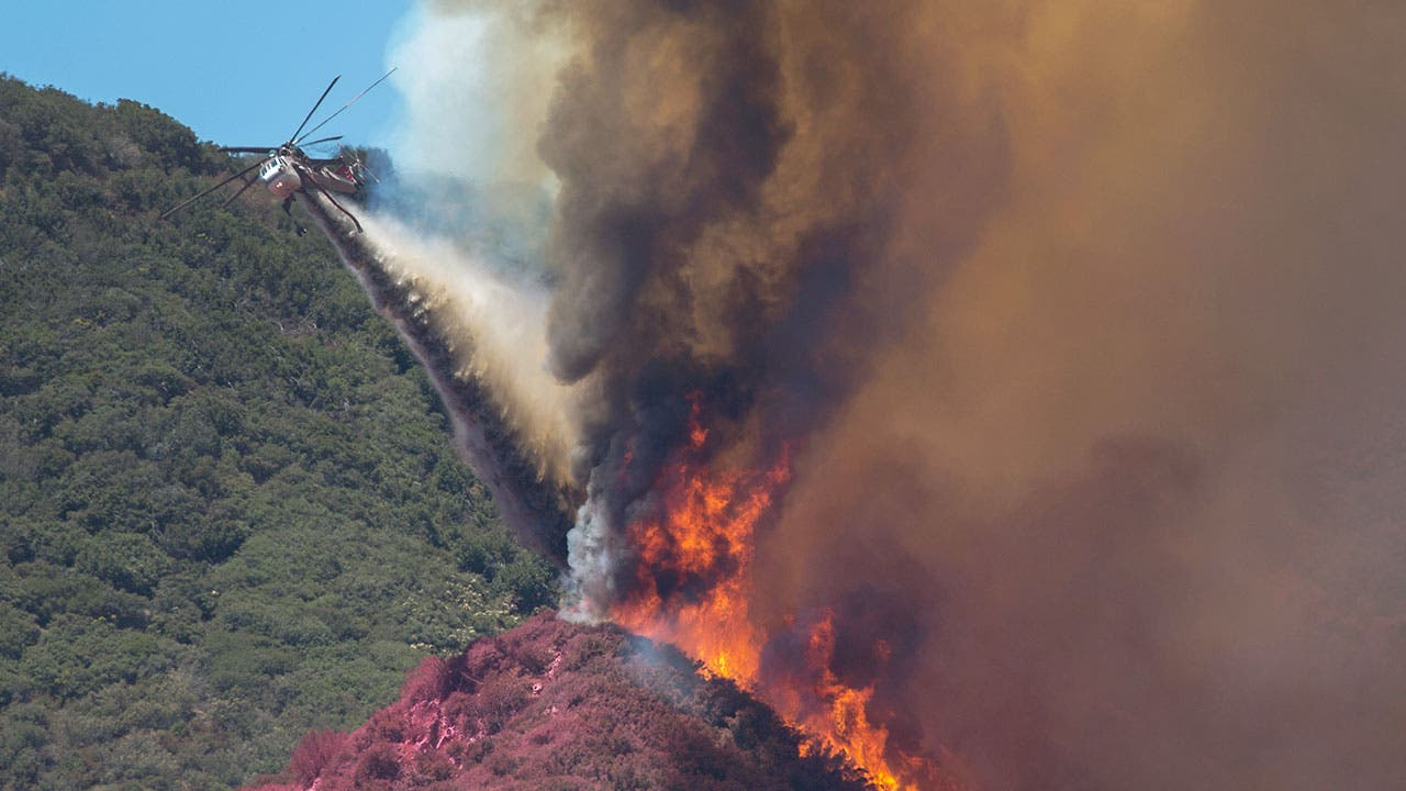 Helicopter puts out fire in California