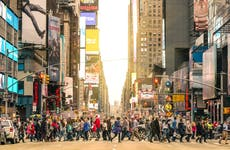 People crossing street at Times Square