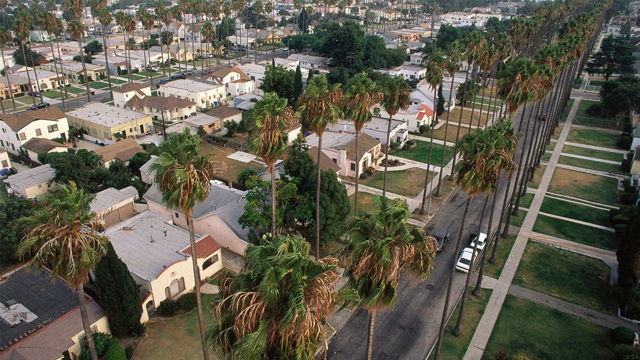 Aerial view of Los Angeles homes
