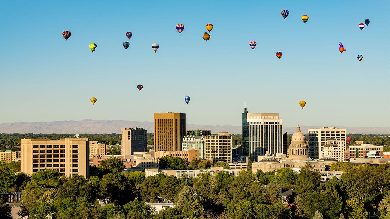 Boise with hot air balloons