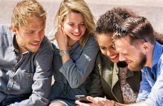 Millennials looking at phone