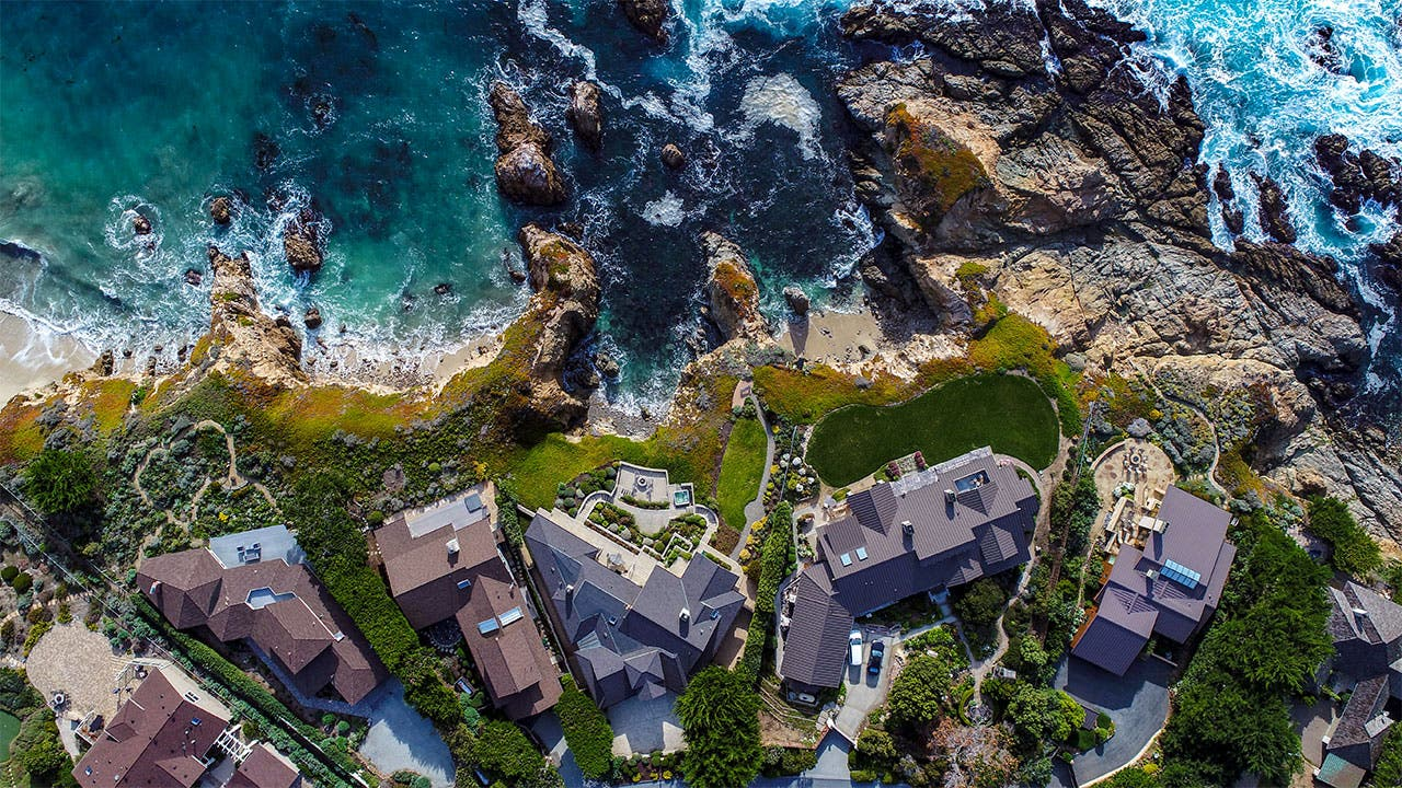 Aerial view of homes in California