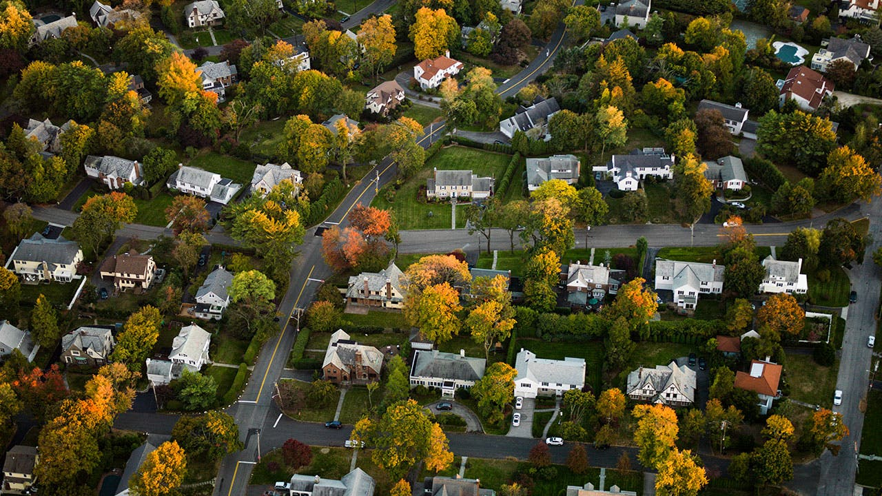 Residential homes in the Fall