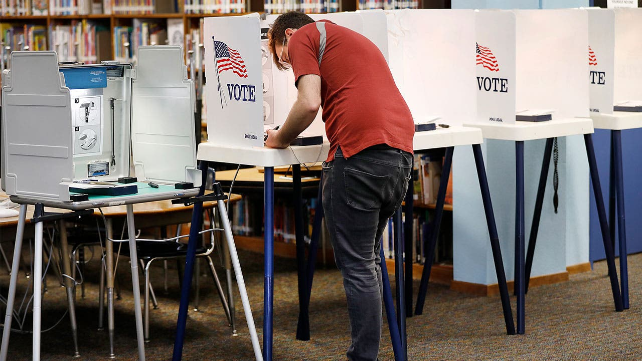 Voter voting in voting booth