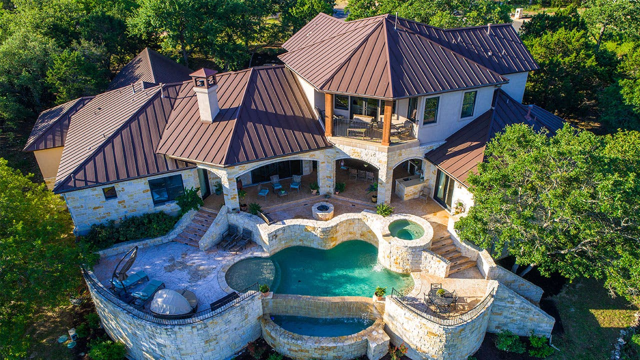 Mansion with backyard pool