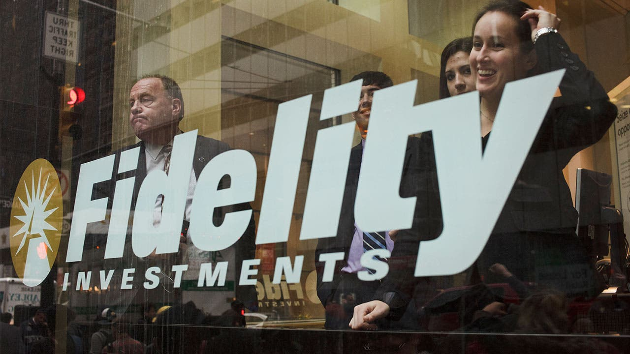Brokers looking through the window at Fidelity Investments