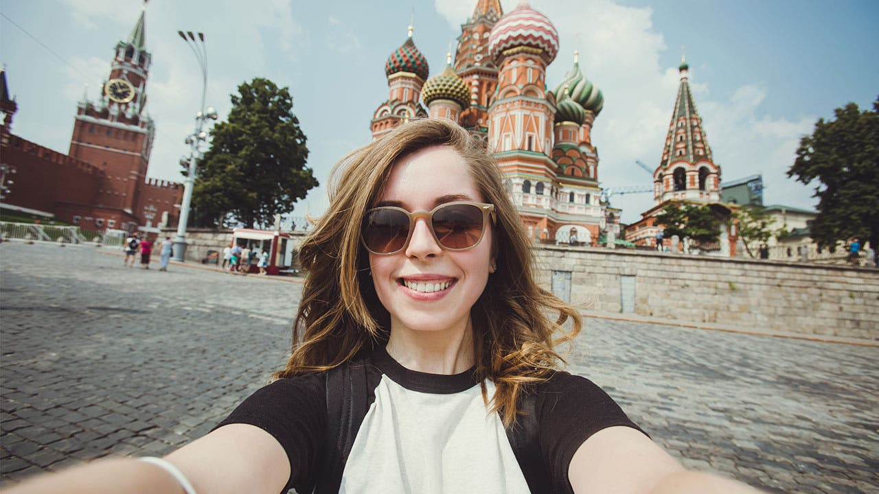 Woman taking a selfie in Moscow red square