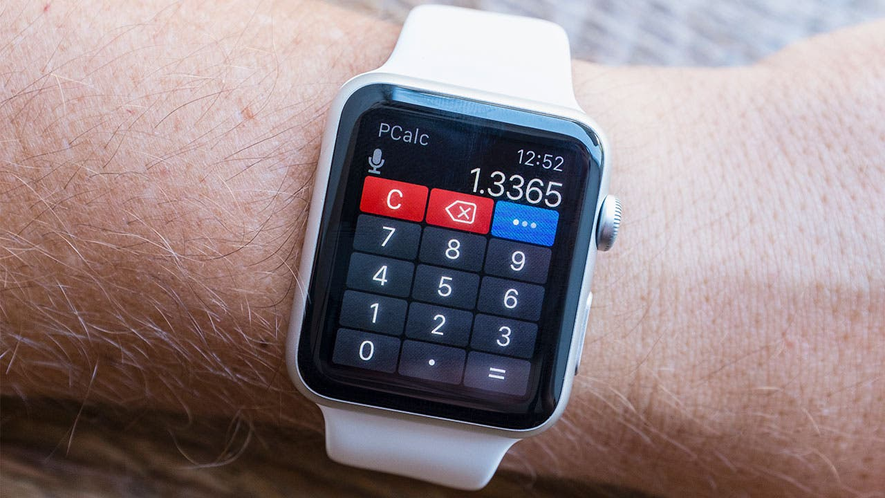 Man using calculator on Apple Watch