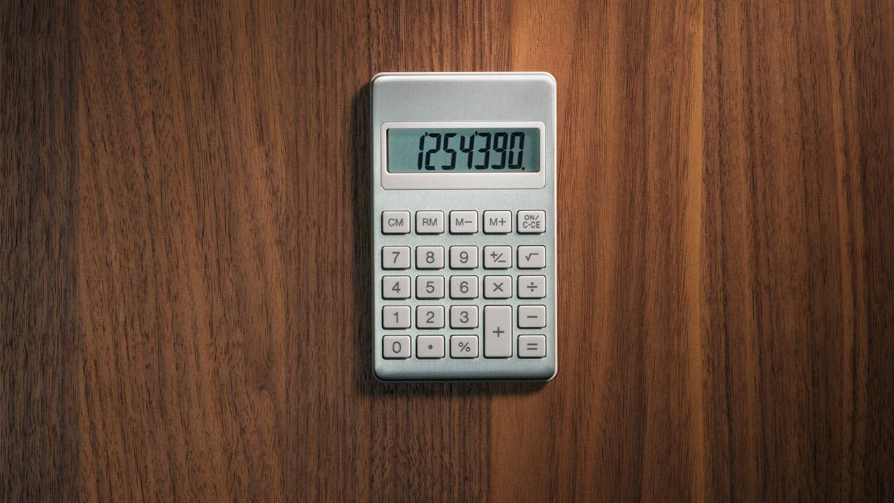 Calculator on wood