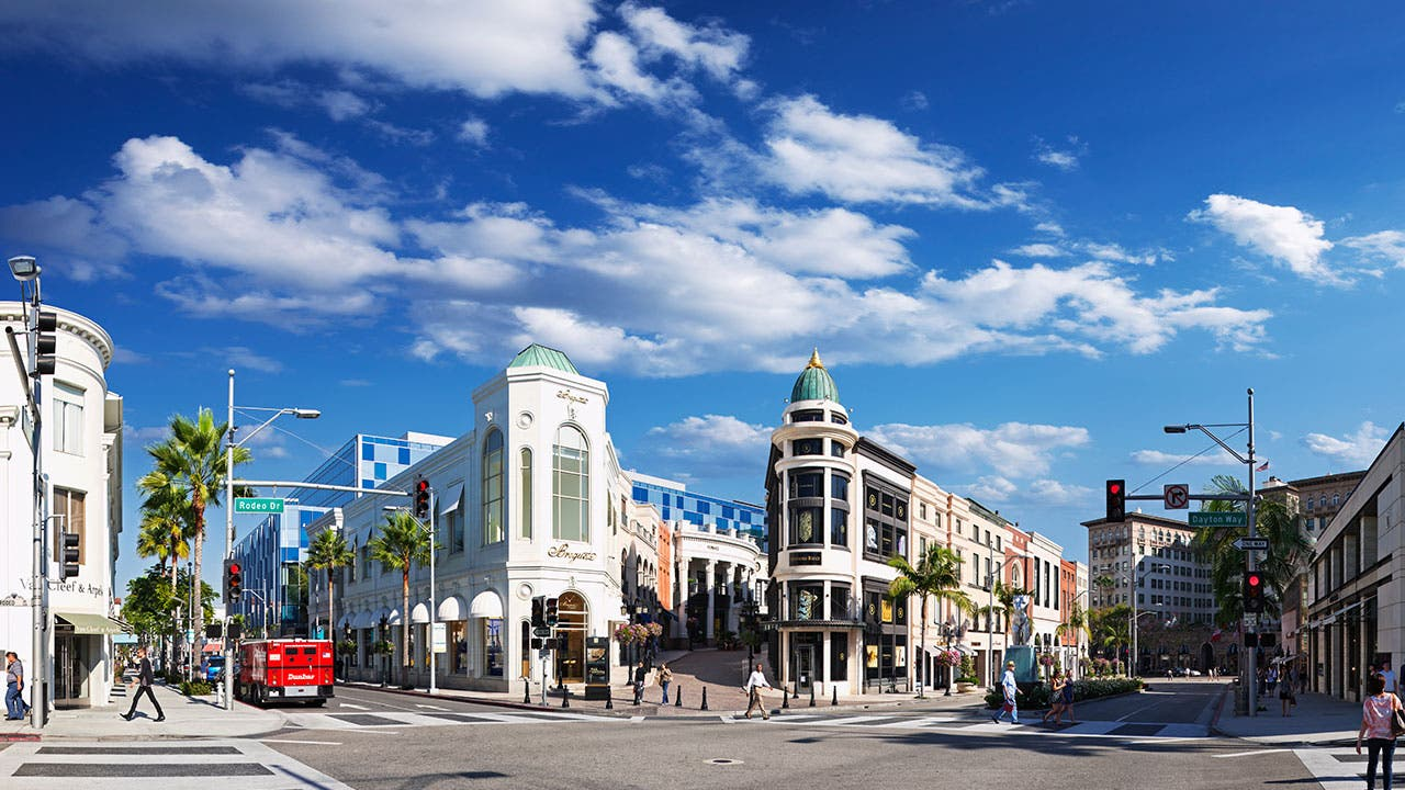 Shoppers in Rodeo Drive