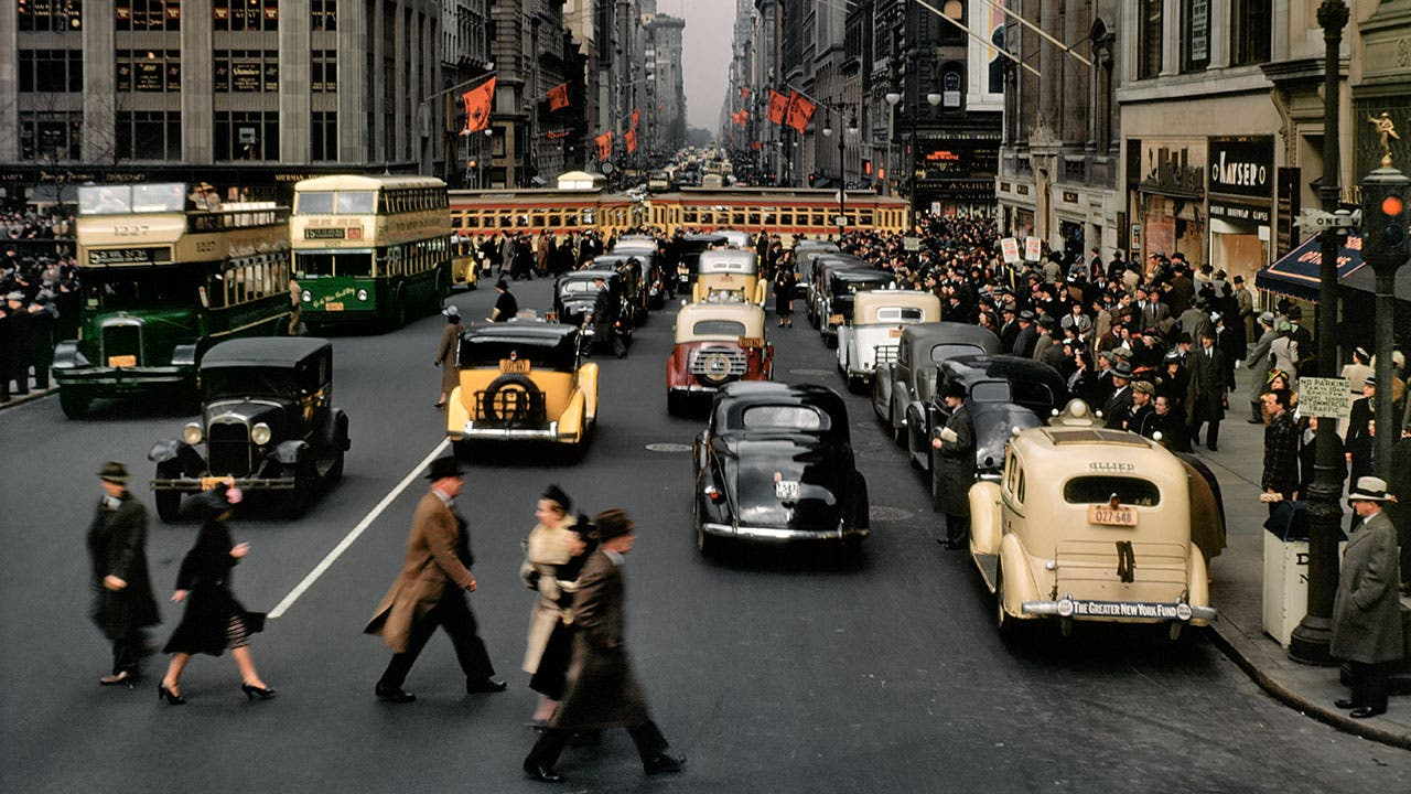 Cars and people in 1930s New York