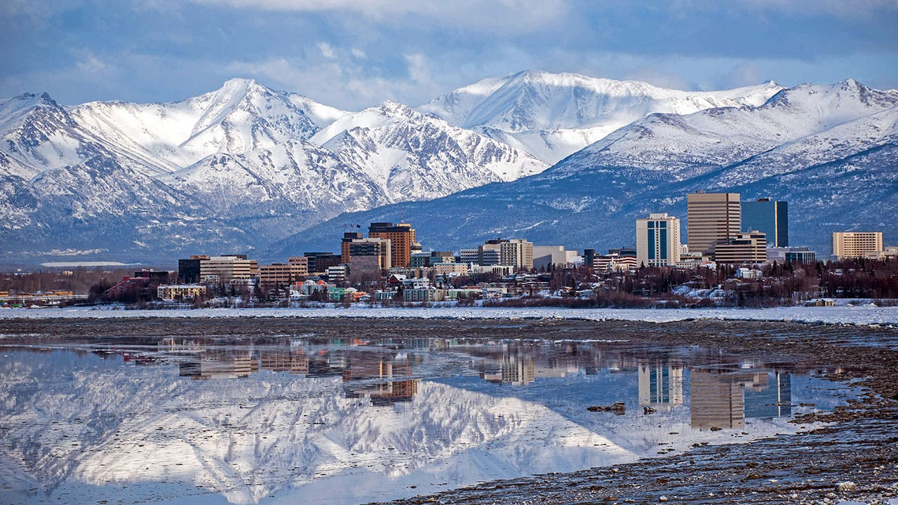 Anchorage city with reflection