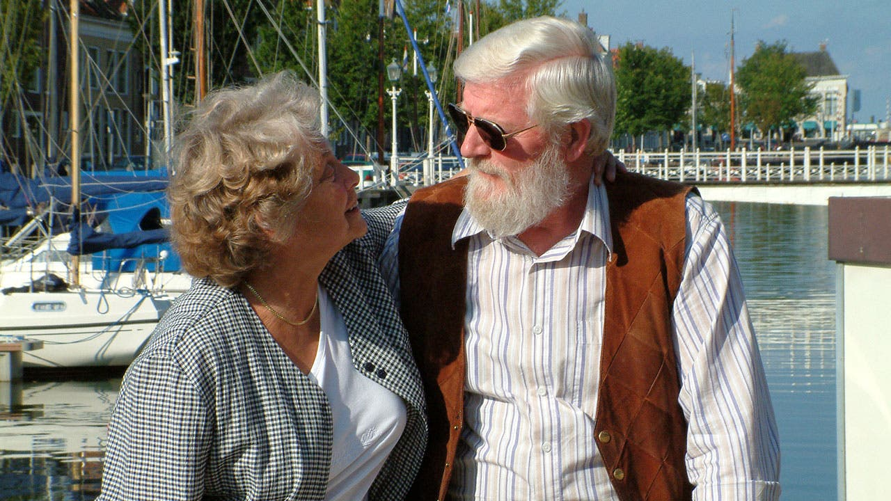Older couple at marina