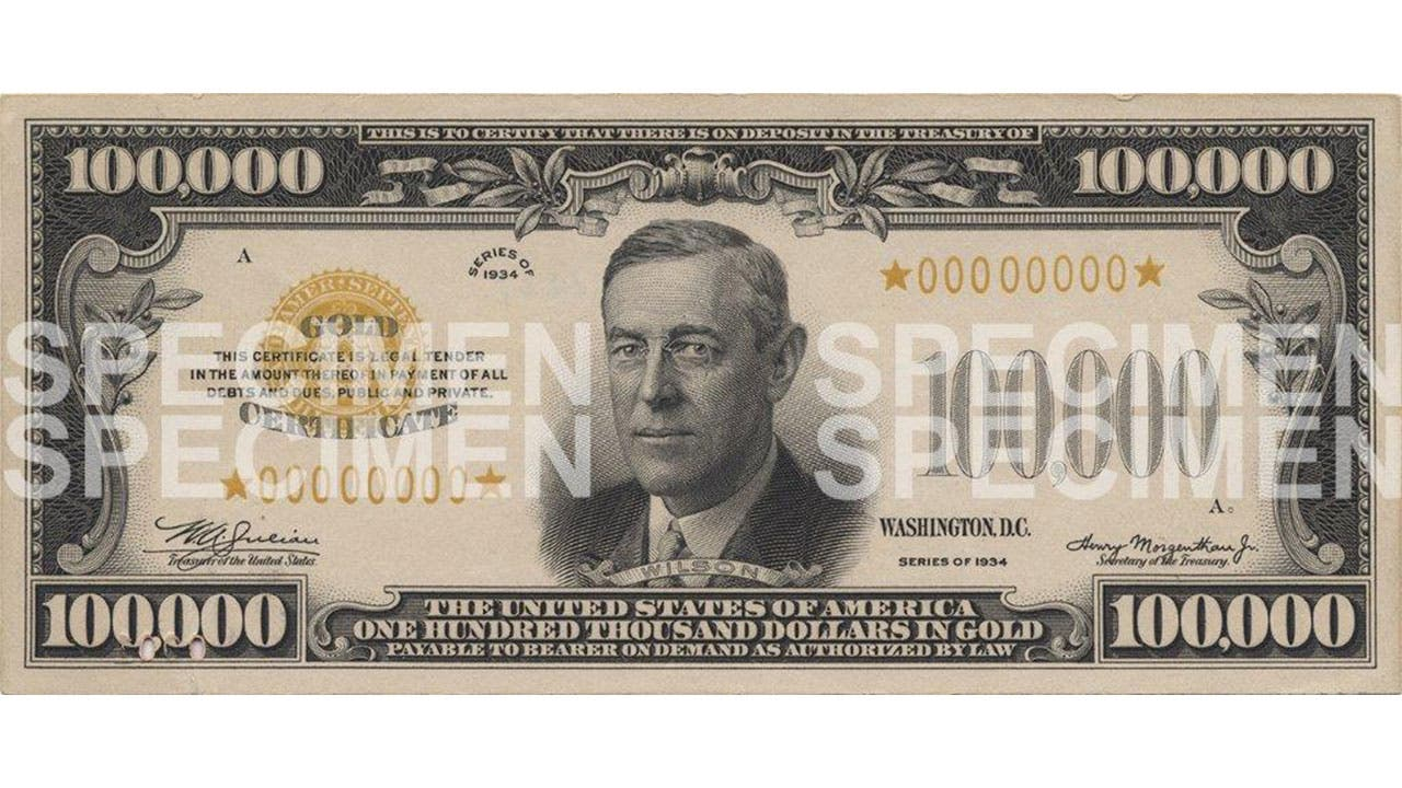 Pictures of Big Bills - $1000, $5000, $10000, $100000