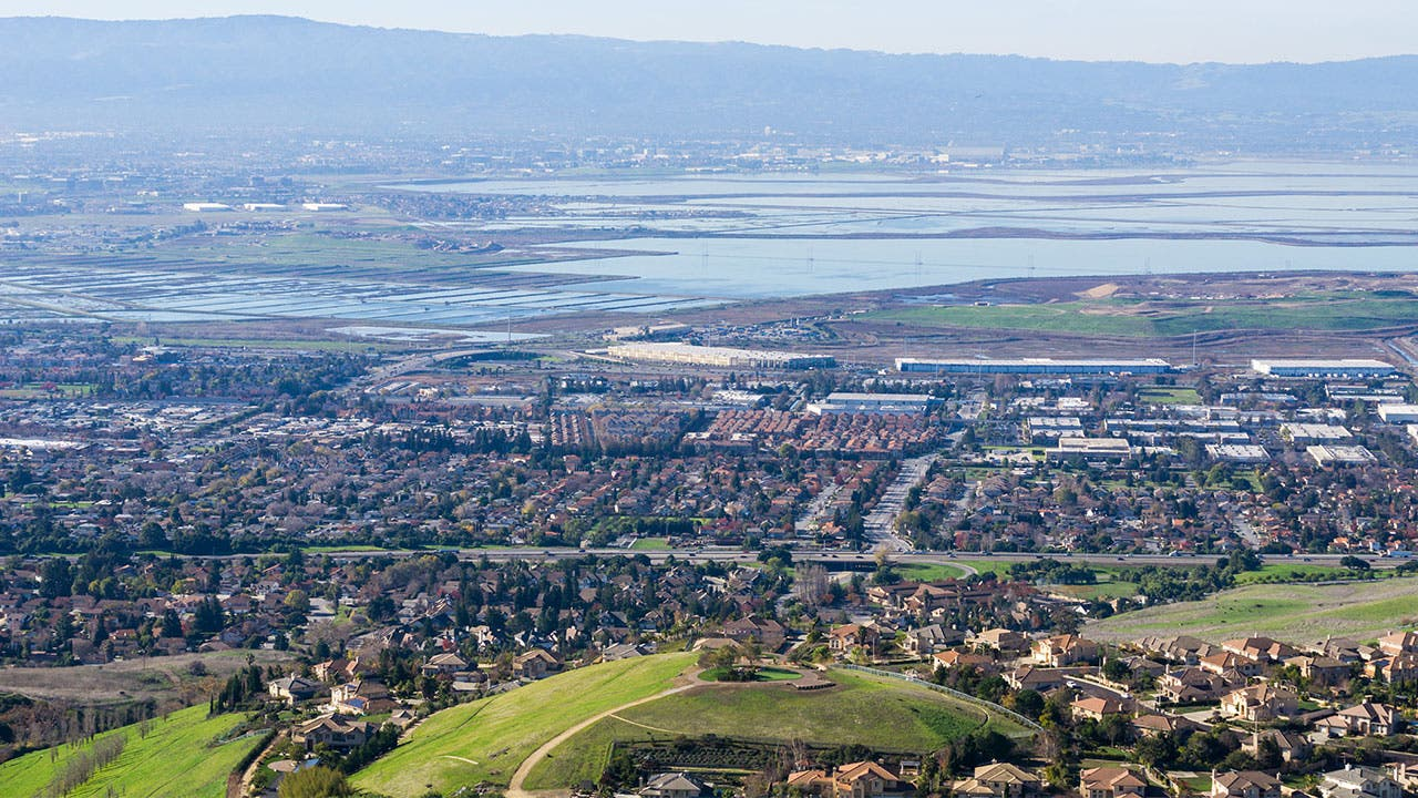 Milpitas aerial with bay