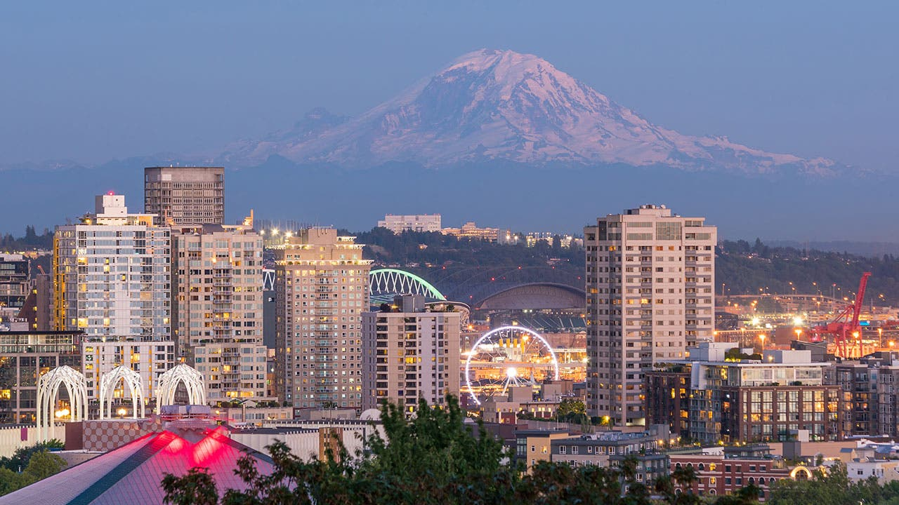 Seattle skyline with Mt Hood