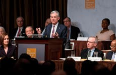 Jerome Powell speaks at the Economic Club in New York City