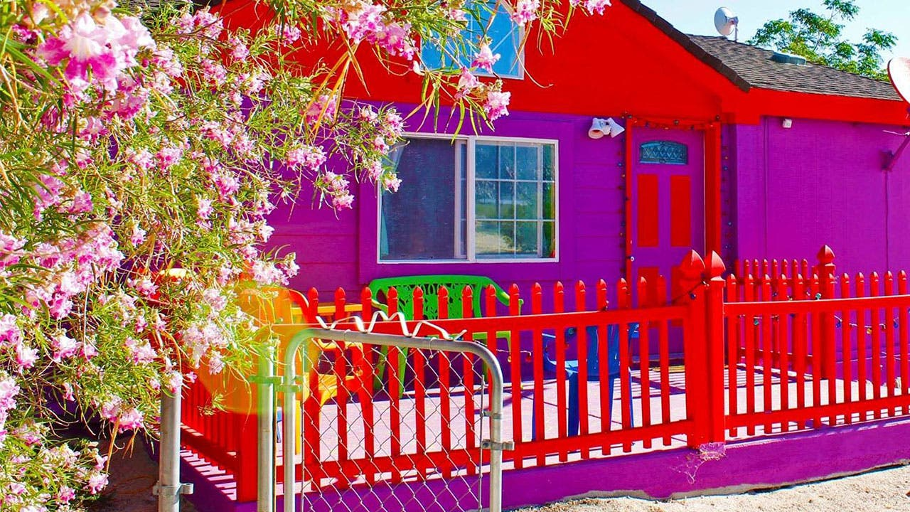 Brightly colored Airbnb listing