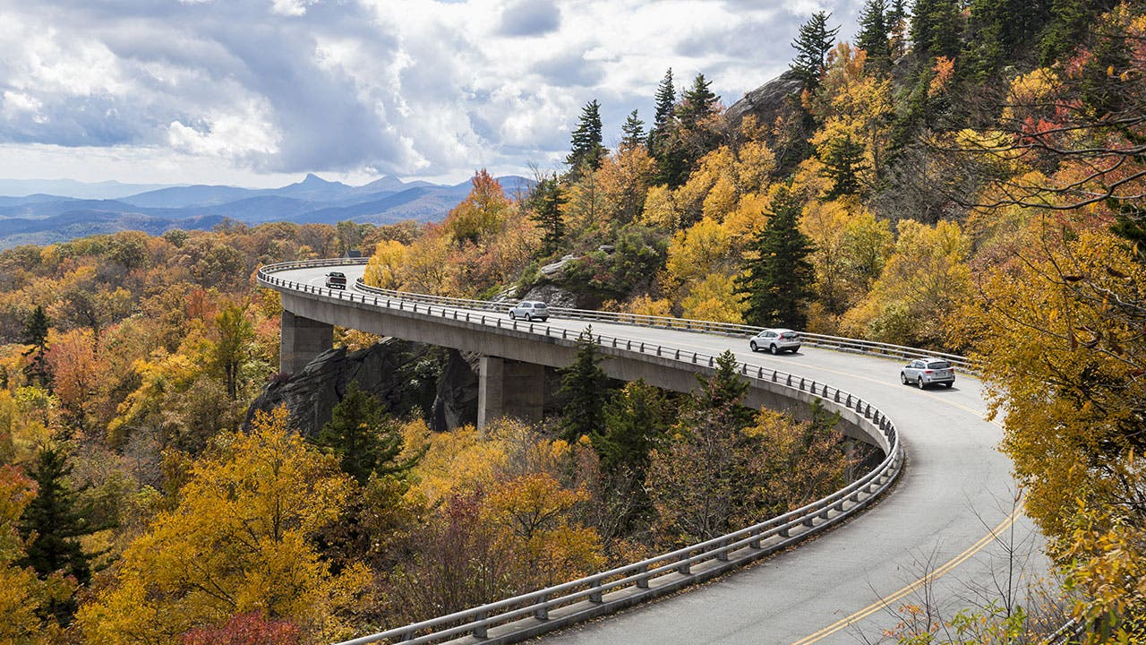 Cars on the Blue Ridge Parkway in Fall