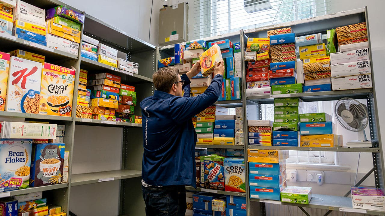 Man working in food bank