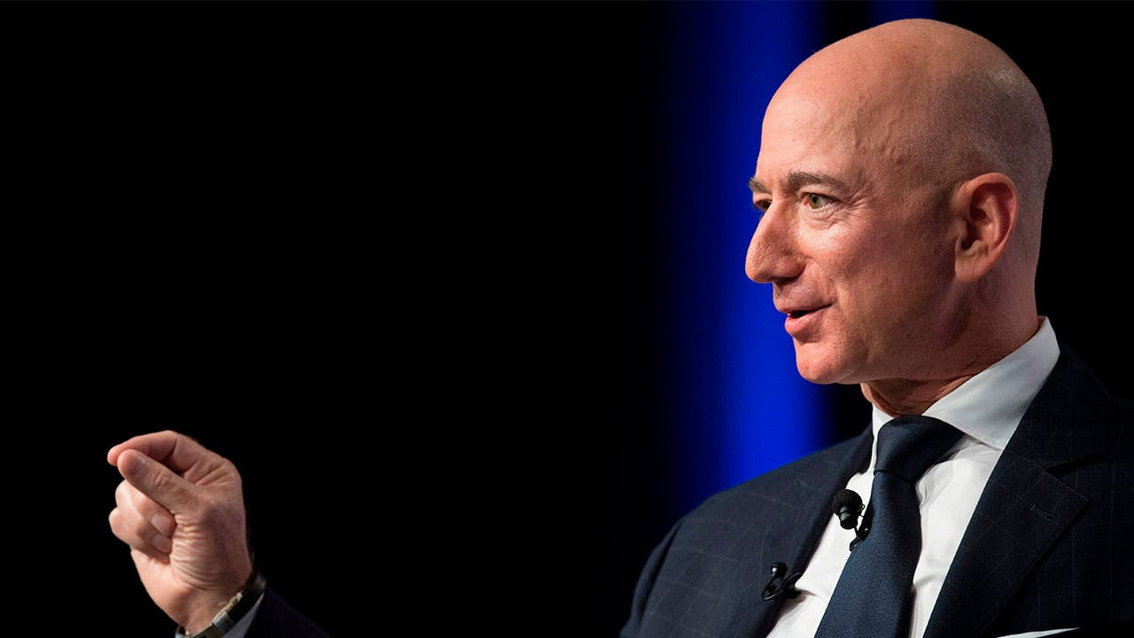Jeff Bezos of Amazon giving a speech