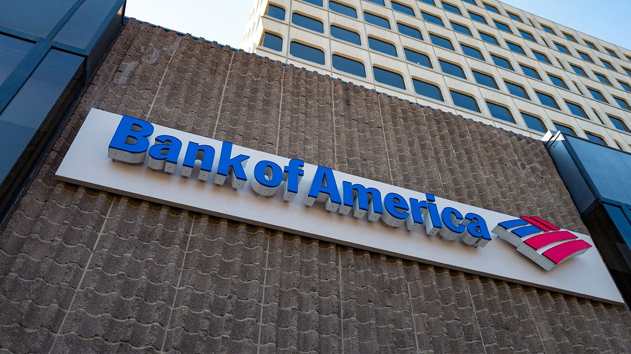 Signage for Bank of America in the Silicon Valley town of Mountain View, California