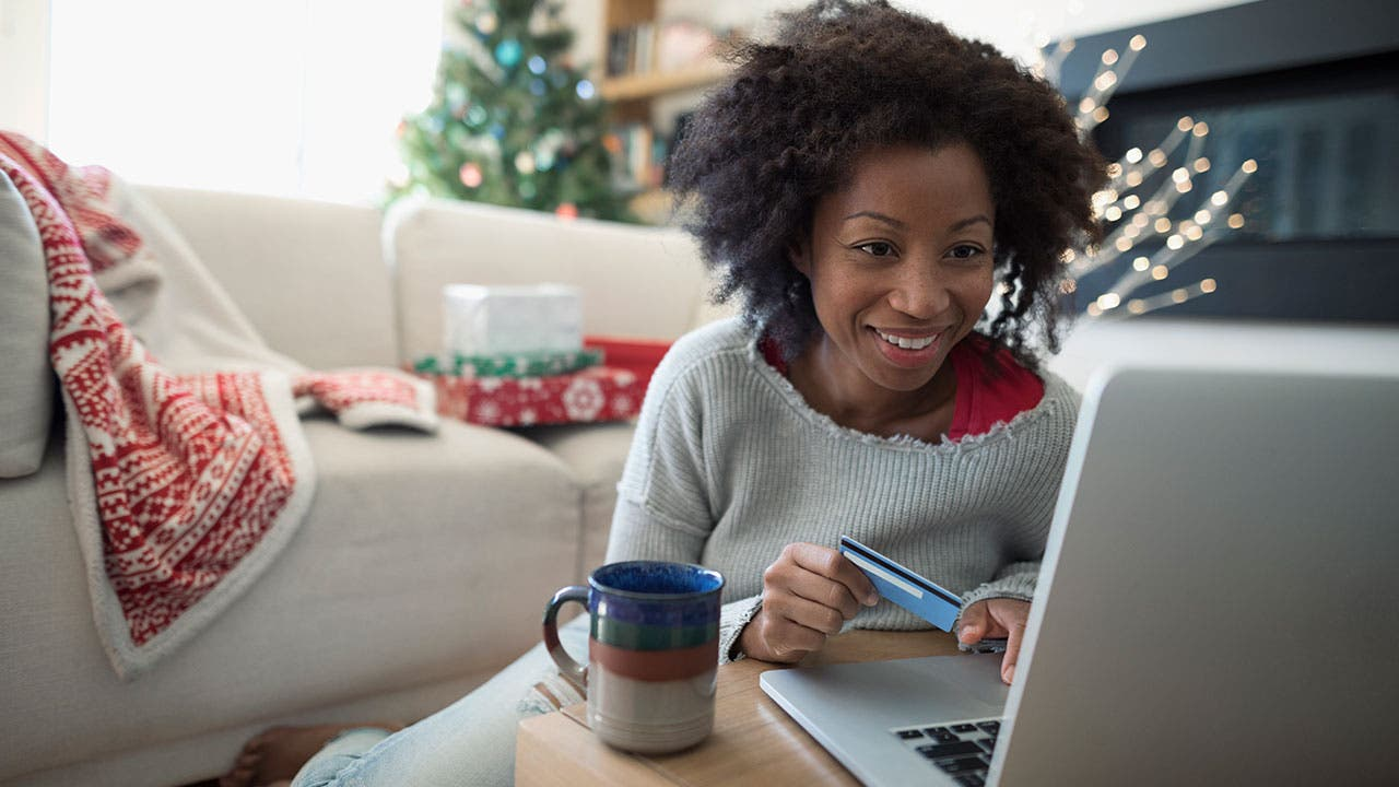 Woman online Christmas shopping