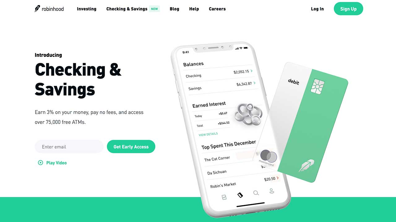 Screenshot of Robinhood's new checking & savings page