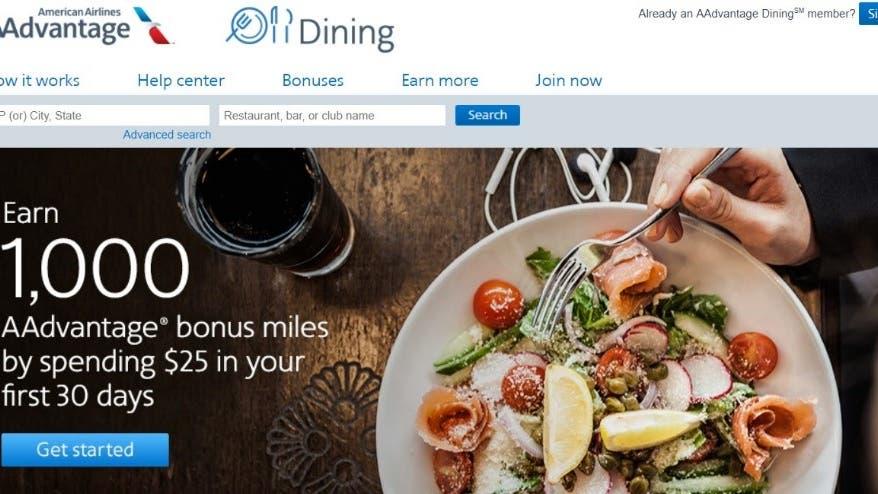 American AAdvantage dining program