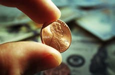 Close up of a penny