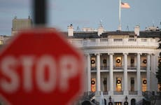 Stop sign in front of White House