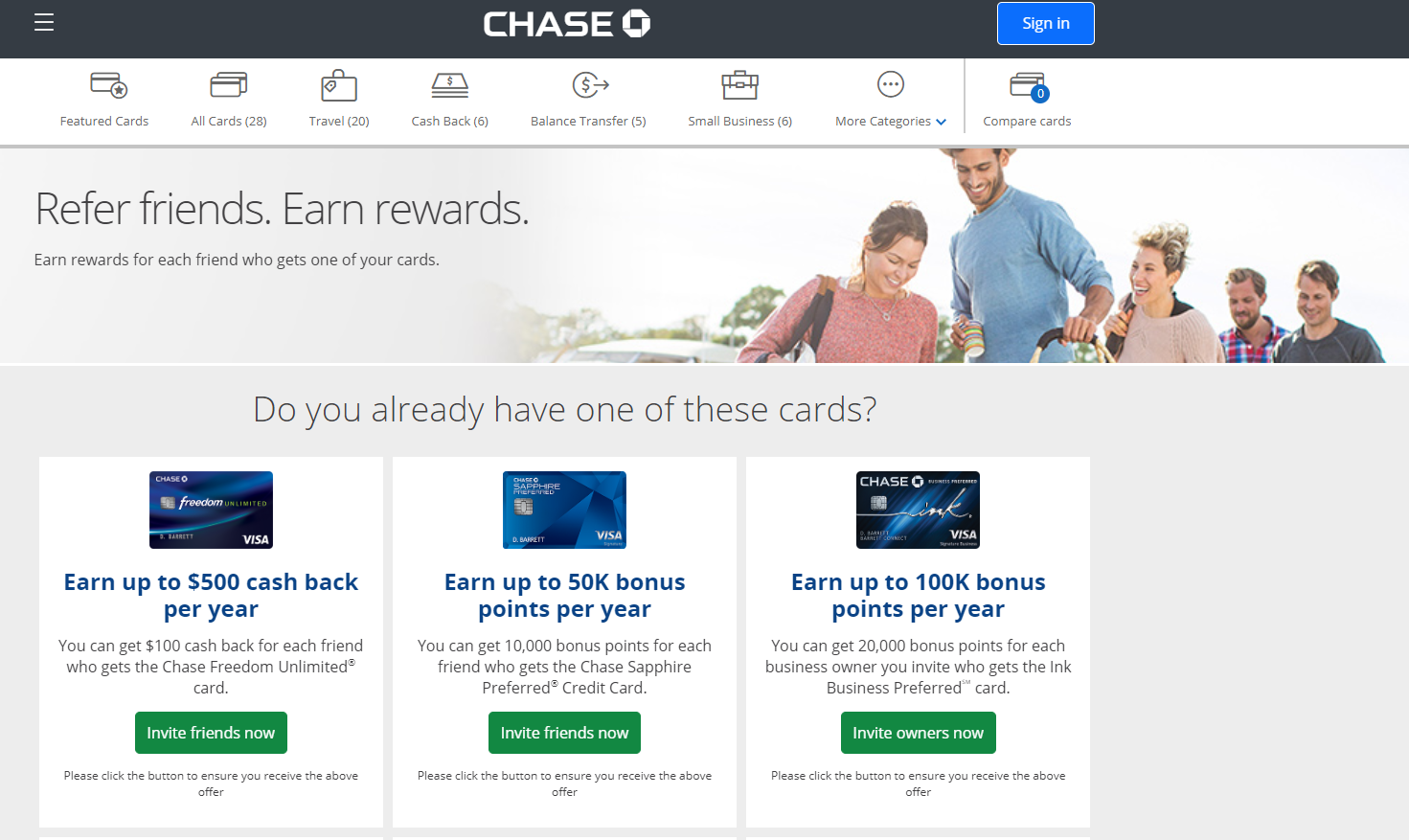 The Chase refer-a-friend program offers bonuses for several credit cards.