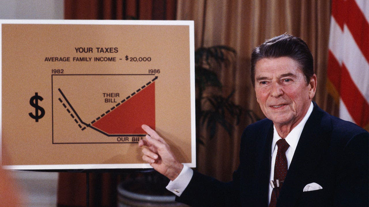 President Reagan demonstrating tax rate