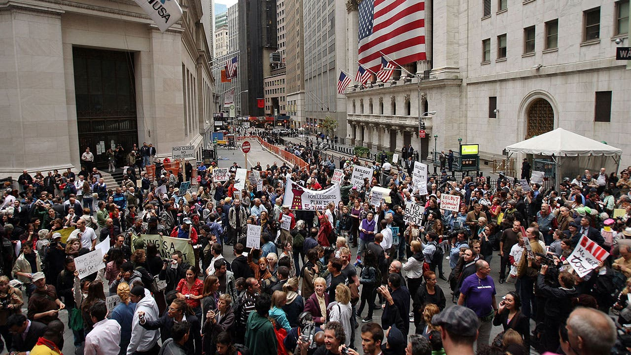 Protestors in 2008 during the economic crash