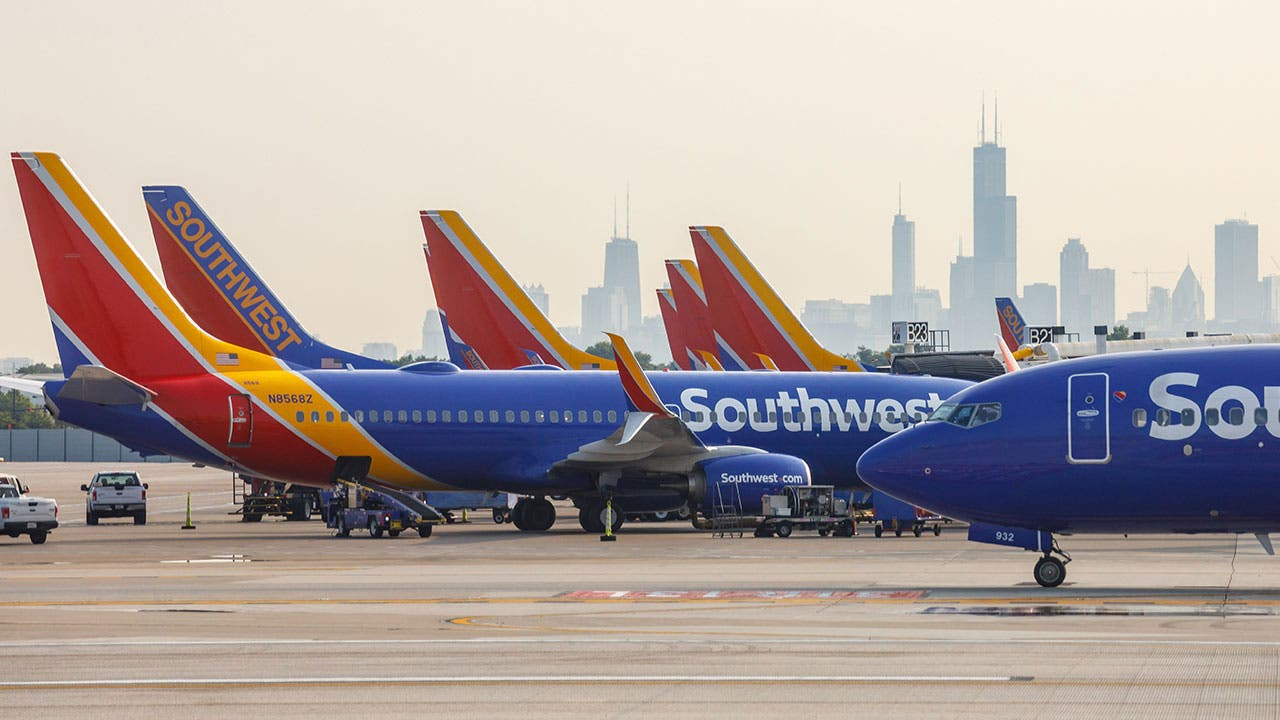 Southwest airplanes in airport
