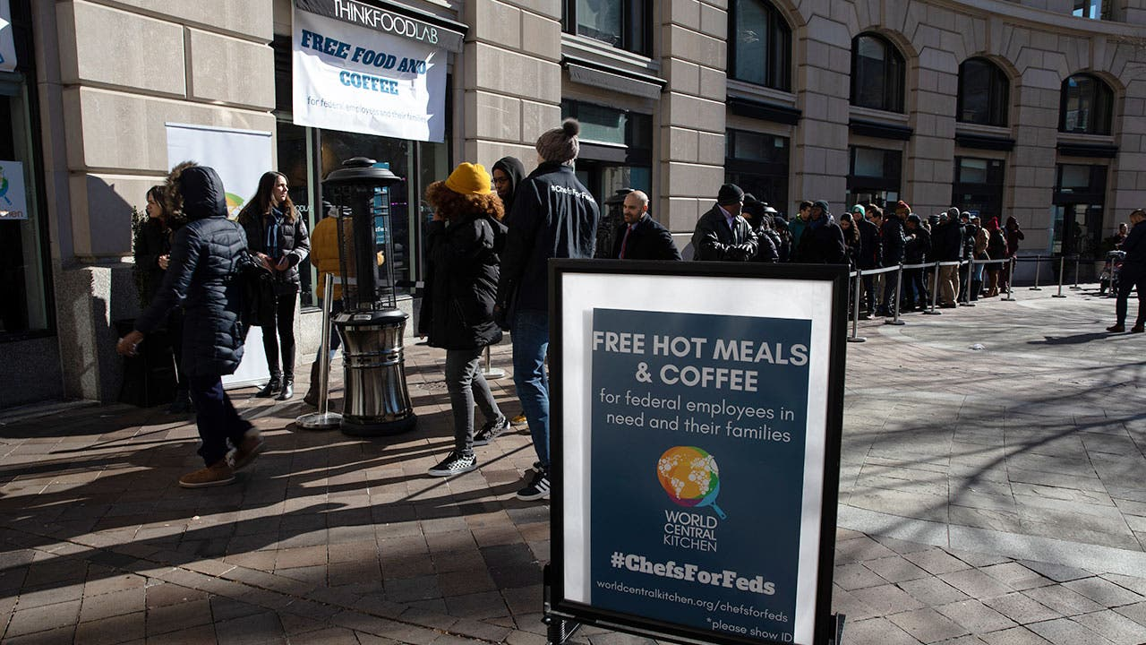 Federal Employees in line for free food