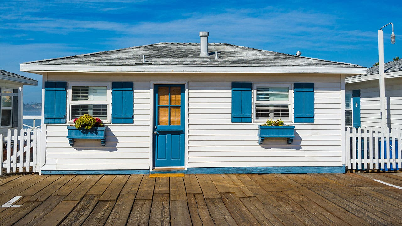 Tiny home in San Diego with blue shutters