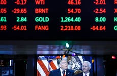 Stock prices and a tv screen at the NYSE