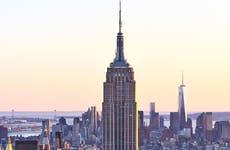 Empire State Building at sunrise over Manhattan