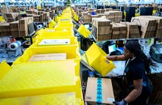 Woman working in Amazon warehouse