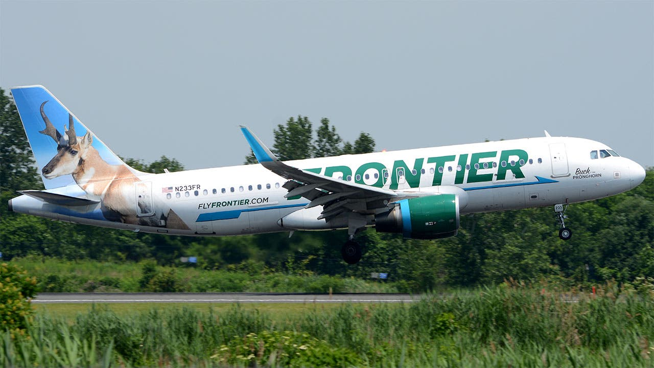 Frontier Airlines plane taking off