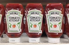 Heinz ketchup on a shelf in store