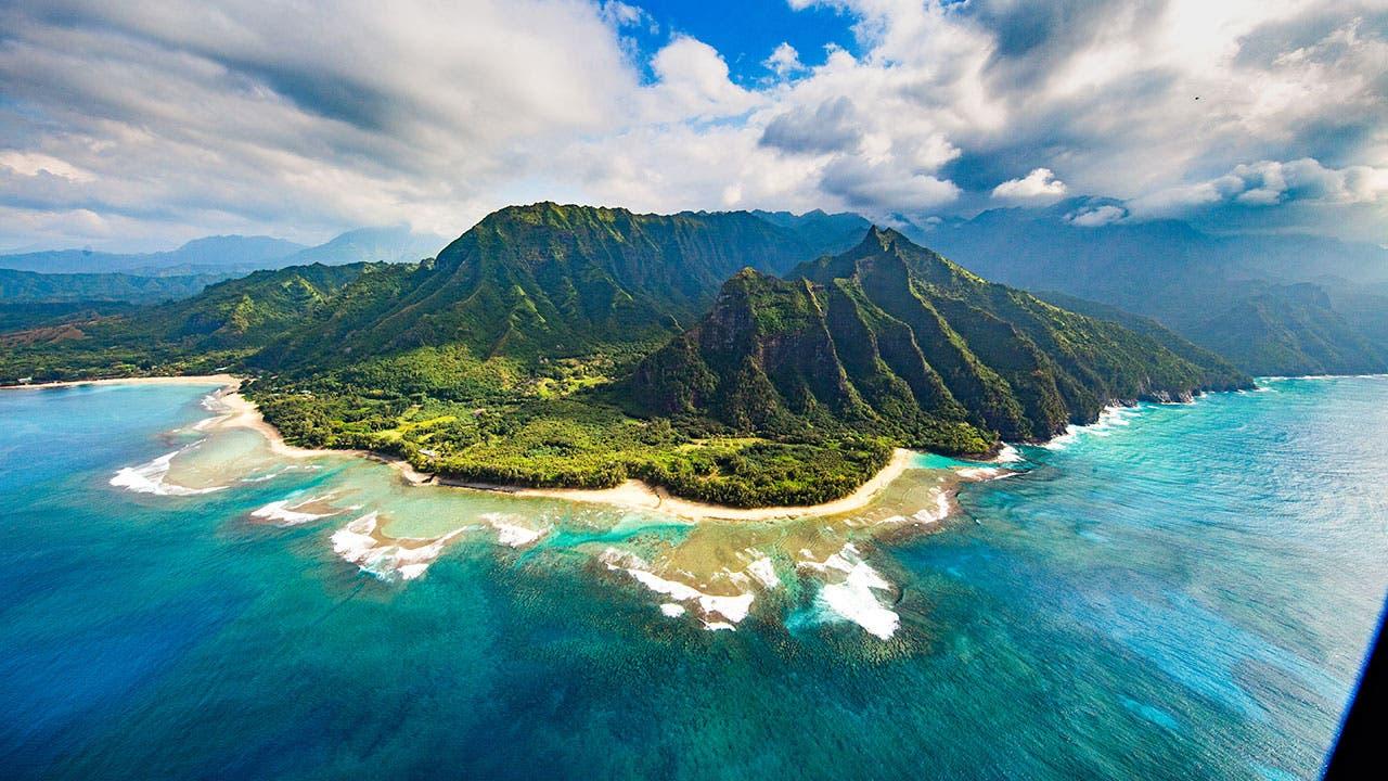 Island of Kauai from the air