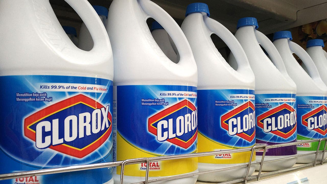 Clorox bottle on shelf