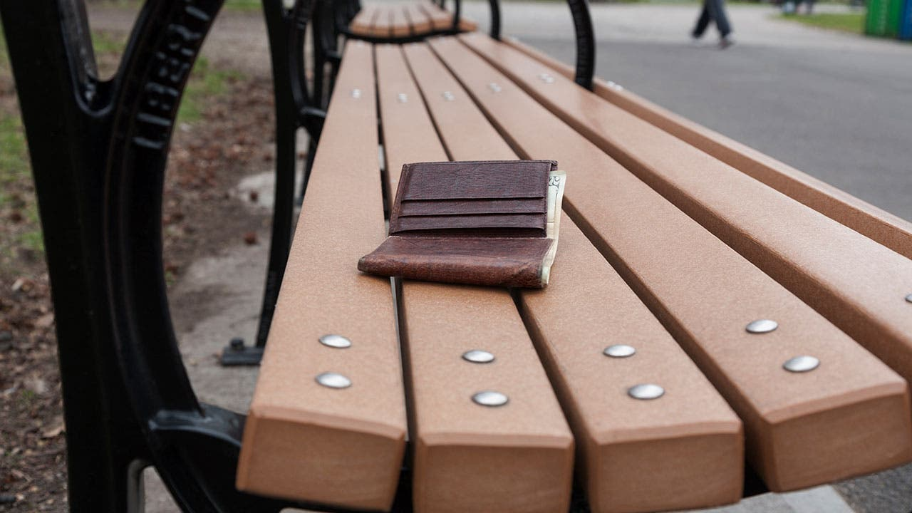Lost wallet on park bench