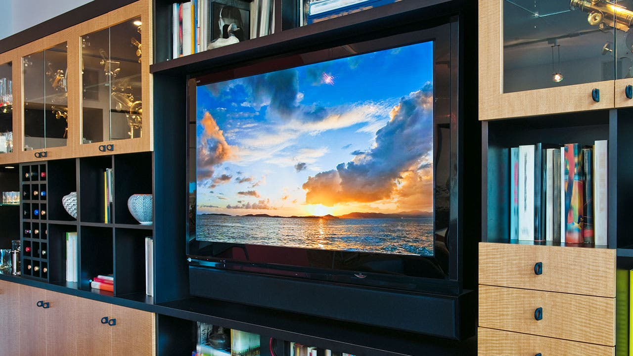 Sunset on flat screen tv