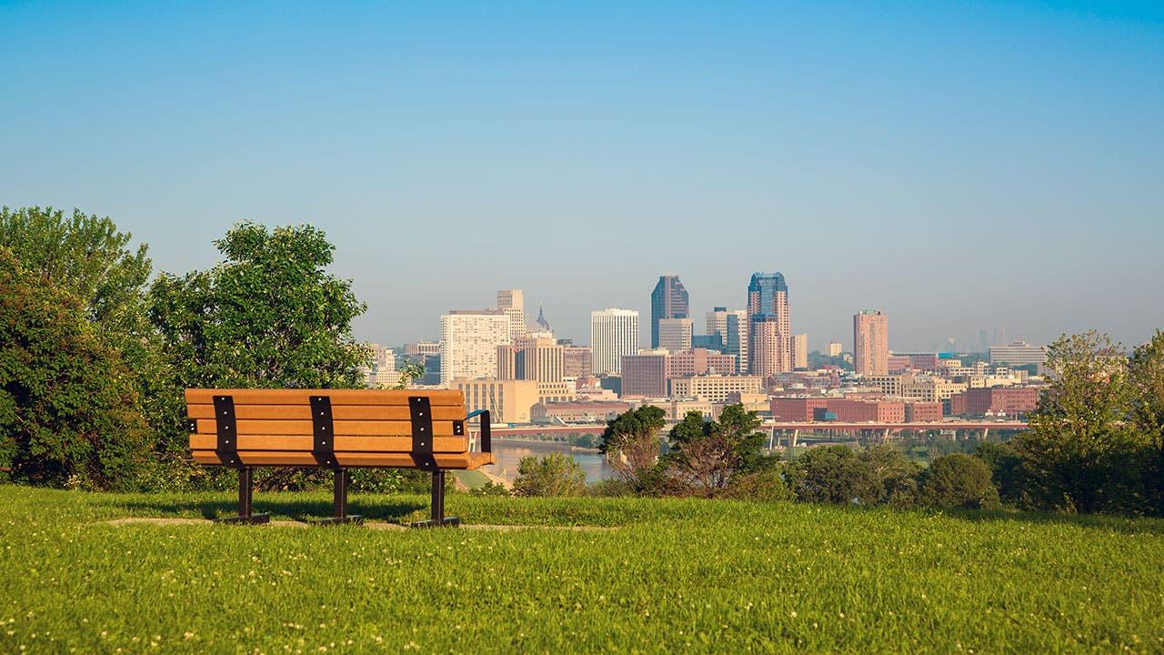 Park bench in Minnesota