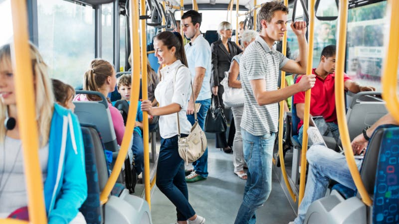 People commuting on bus